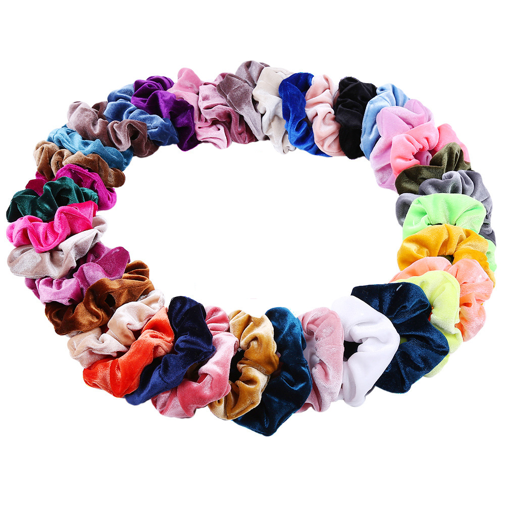 27 Color Soft Chiffon Velvet Yellow Hair Scrunchies Floral Grip Loop Holder Stretchy Black Scrunchie Women Hair Accessories