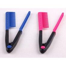 Расческа V типа дизайн выпрямитель для волос Расческа складывающаяся расческа для волос розовый/синий моделирование отделка челки салон парикмахерские расчески Стайлинг