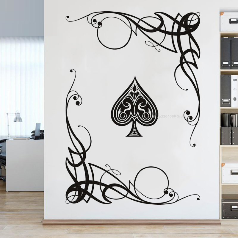 Swirl Ace Card Games Poker Wall Sticker Vine decoration Art mural Poker Chess Room self-adhesive decal Sofa background DG369(China)