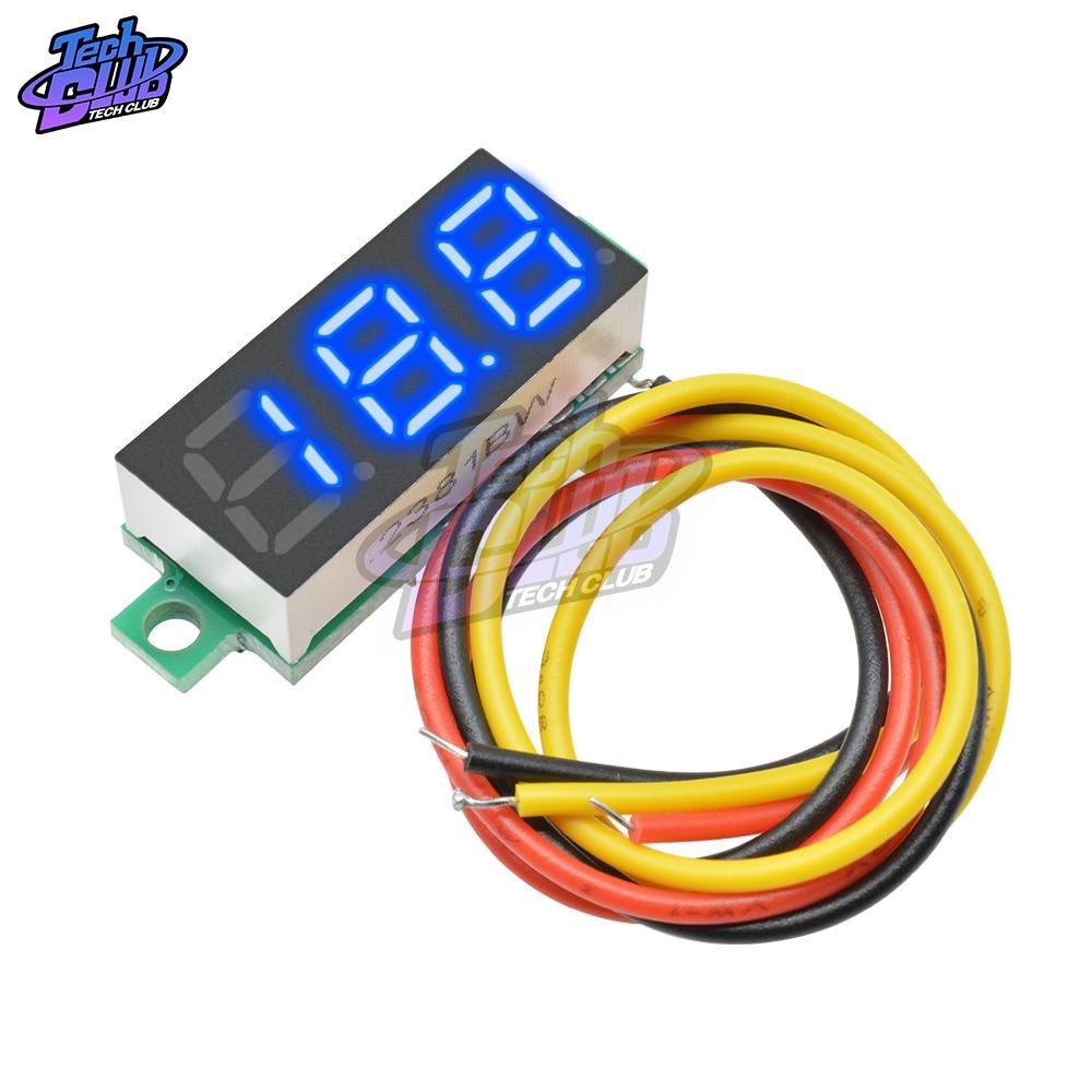 0.28 Inch 3 Wire Mini Gauge Voltage Meter Voltmeter DC 0-100V LED Display Digital Panel Voltmeter Detector Monitor Tools