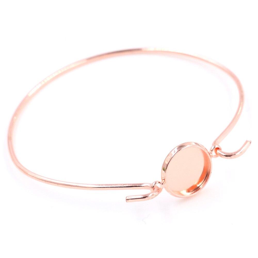 High Quality  2pcs 12mm Rose Gold Color Handmade Bangle Base Bracelet Blank Findings Setting Cabochon Cameo -Z6-04