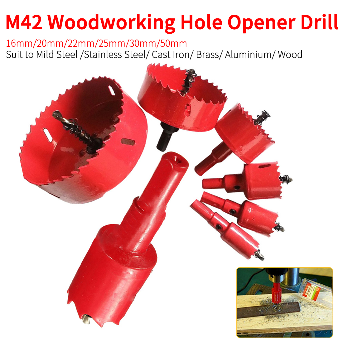Woodworking Wood Tool Bit M42 Hole Saws Opener Drill Bit For DIY Wood Metal Cutter Drill 16mm/20mm/22mm/25mm/30mm/50mm