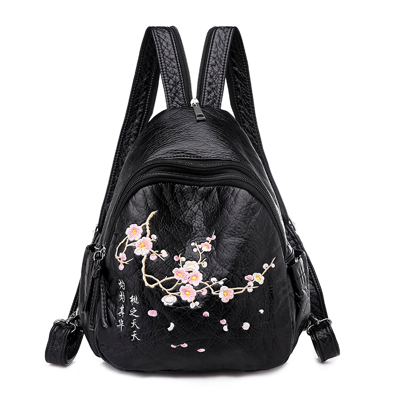 2019 Embroidery Leather Backpacks For Teenage Girls 2019 Female Travel Shoulder Bags School Sac A Dos Ladies Bagpack Mochilas
