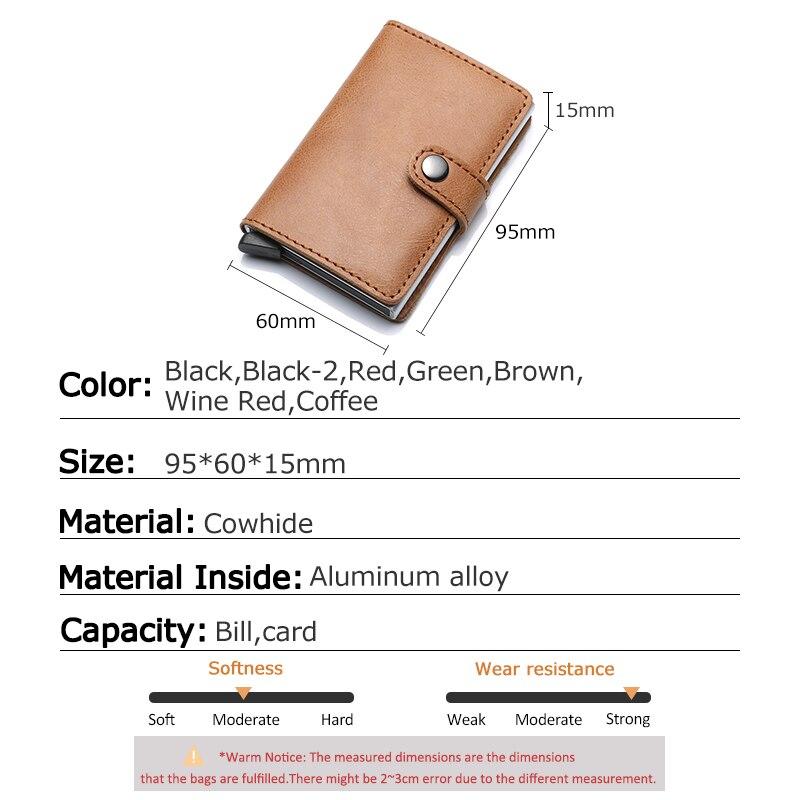 Image 5 - עור אמיתי גברים אשראי כרטיס בעל וו RFID חסימת ארנק מזהה כרטיס מחזיק בנק עסקי ארנקים ארנק לנשים כרטיסיםמחזיקי כרטיסים ותעודת זהות   -