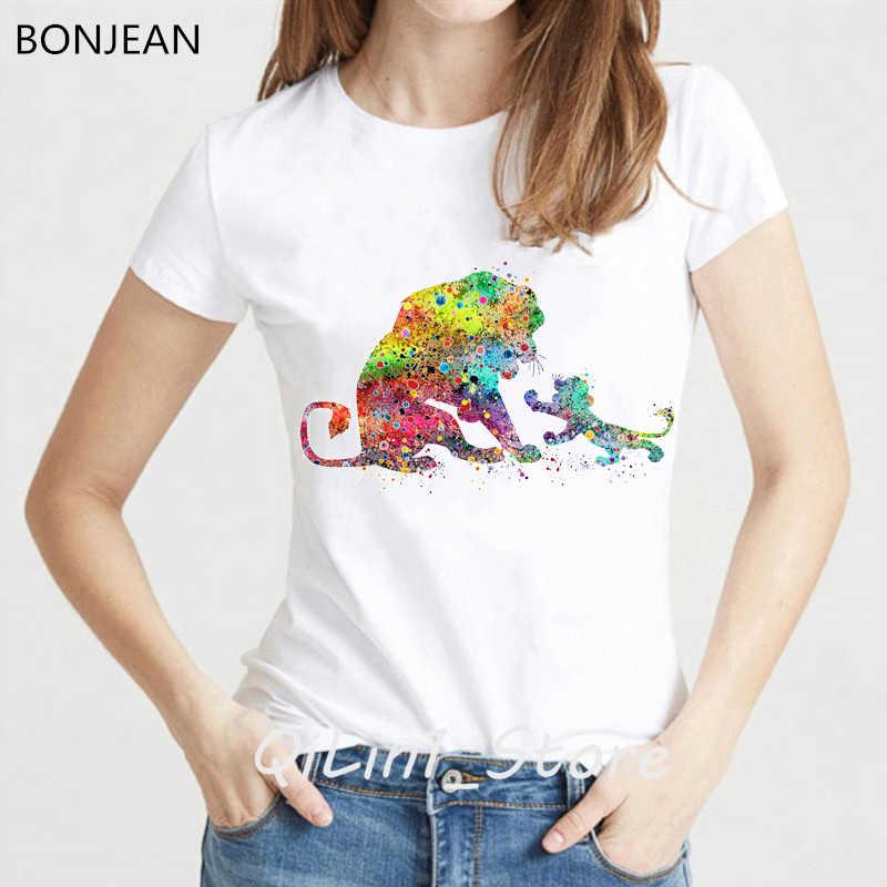 HAKUNA MATATA koszula koszulki z nadrukami kobiety akwarela król lew druku koszulka camisetas mujer harajuku koszula śmieszne koszulki z krótkim rękawem