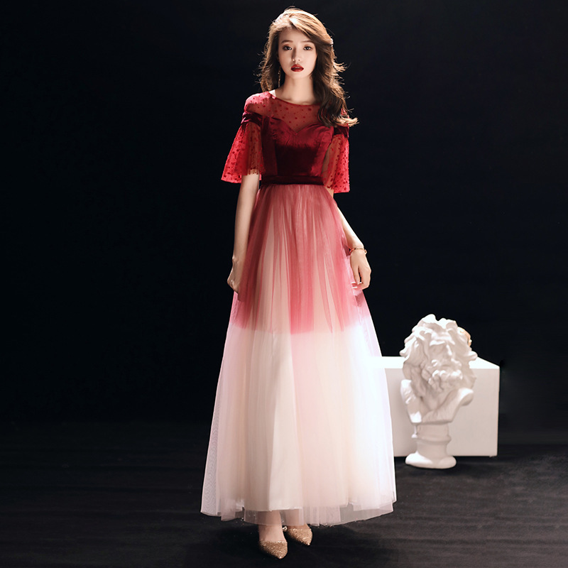 2019 Vestido Longo Manga Longa Toast Bride Usually Can Wear Back Casual Dress Gradual Wedding Choir Performance Evening Skirt