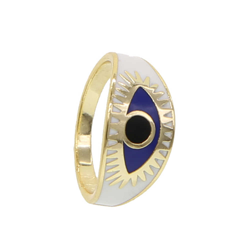 เครื่องประดับแฟชั่นทองสีเคลือบหญิง Finger Blue Evil Eye แหวน