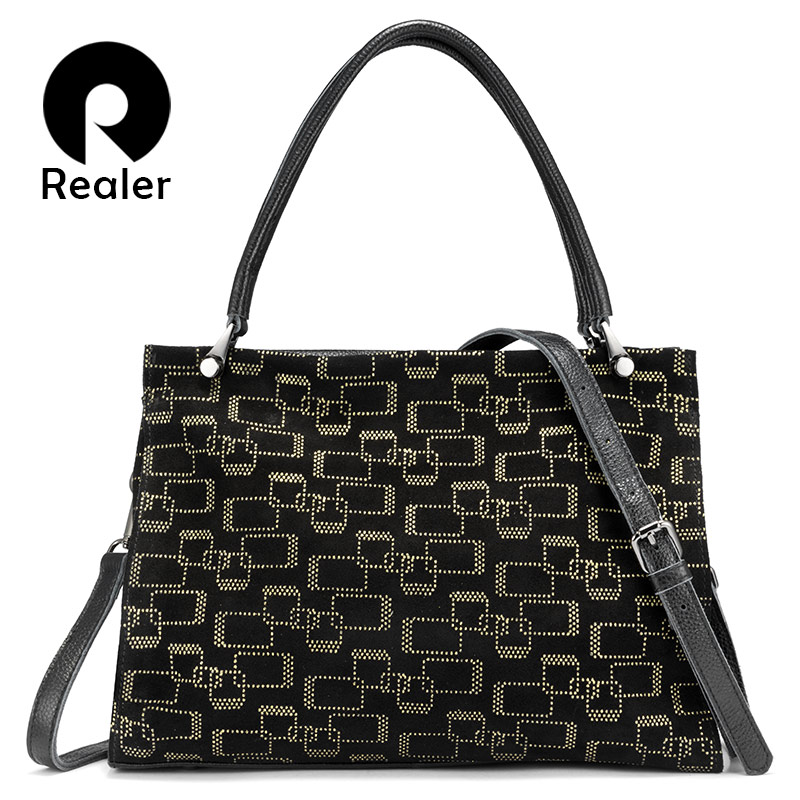 REALER Genuine Leather Women Handbags Large Capacity Tote Bags High Quality Female Shoulder Bags Animal Prints Cross Body Bag