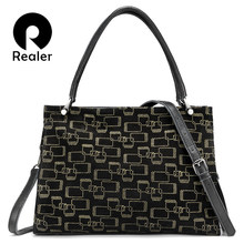 REALER genuine leather women handbags large capacity tote bags high qu
