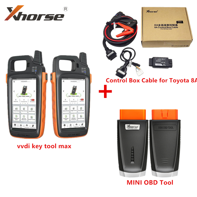Xhorse VVDI Key Tool MAX Car Key Programmer with VVDI 8A Control Box Cable for Toyota 8A All Keys Lost Adapter MINI OBD Tool Kit