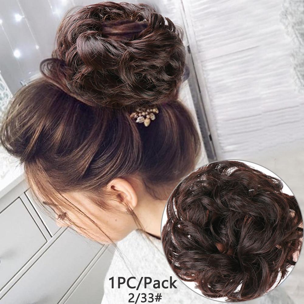 Fashion Women  Hair Extension Bun Hairpieces Scrunchie Vigorous Wave Curly Messy Bun Elastic Synthetic Hairpieces