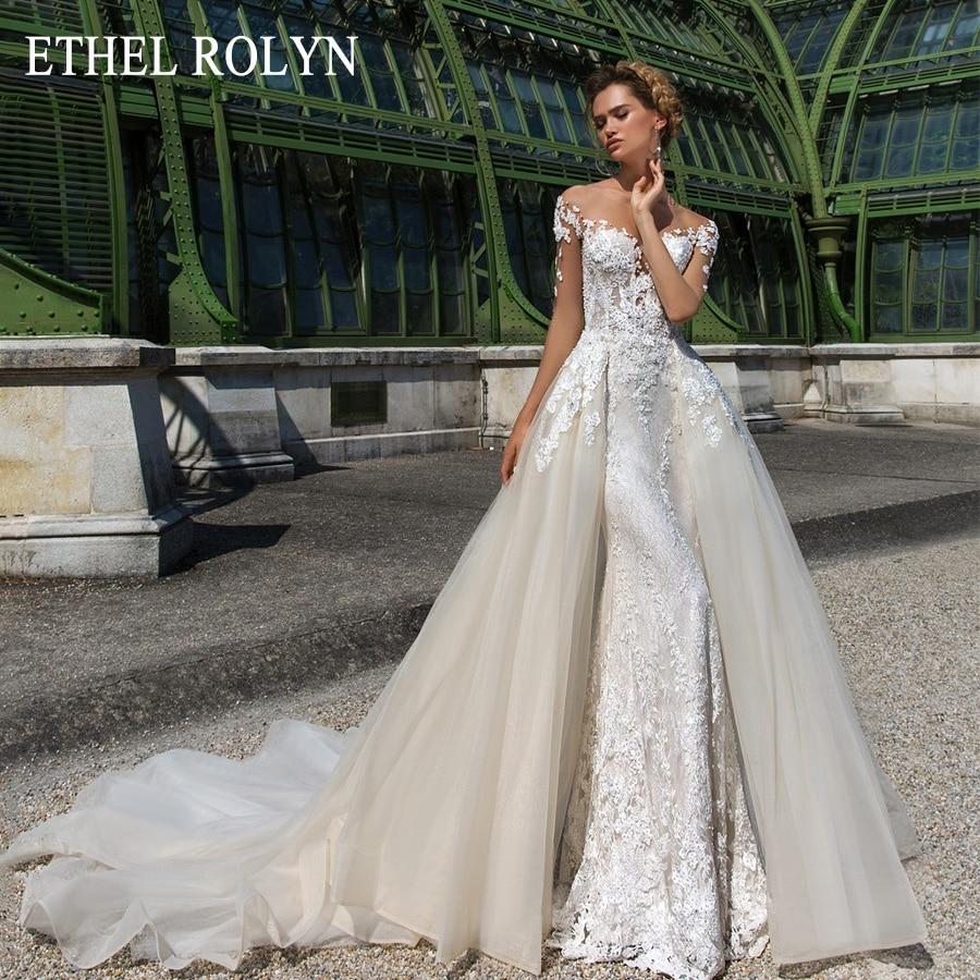 ETHEL ROLYN Romantic Detachable Train Mermaid Wedding Dresses Off the Shoulder Beading Appliques Vintage 2 In 1 Wedding Gowns