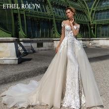 エセルrolynロマンチックな取り外し可能な人魚のウェディングドレス2020ショルダービーズアップリケヴィンテージ2 1で花嫁ガウン