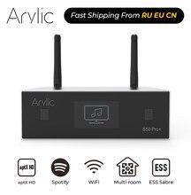 Arylic s50 pro + wifi & aptx hd pré-amplificador com ess sabre dac akm adc multiroom airplay spotify tidal internet rádio