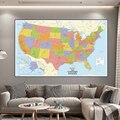150*100 см карта Соединенных Штатов с деталями, Нетканая Картина на холсте, настенный художественный плакат, школьные принадлежности, украшени...