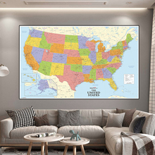 150*100cm Map of The United States with Details Non-woven Canvas Painting Wall Art Poster School Supplies Home Decoration