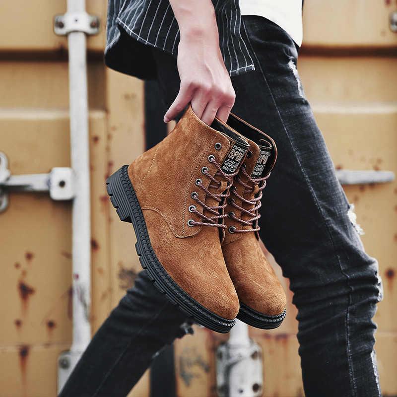 Hakiki Deri Erkek Botları Yeni ürün Moda Erkekler yarım çizmeler Nefes Çizmeler Erkekler Lace Up Yüksek Kaliteli Eski Erkek iş çizmeleri