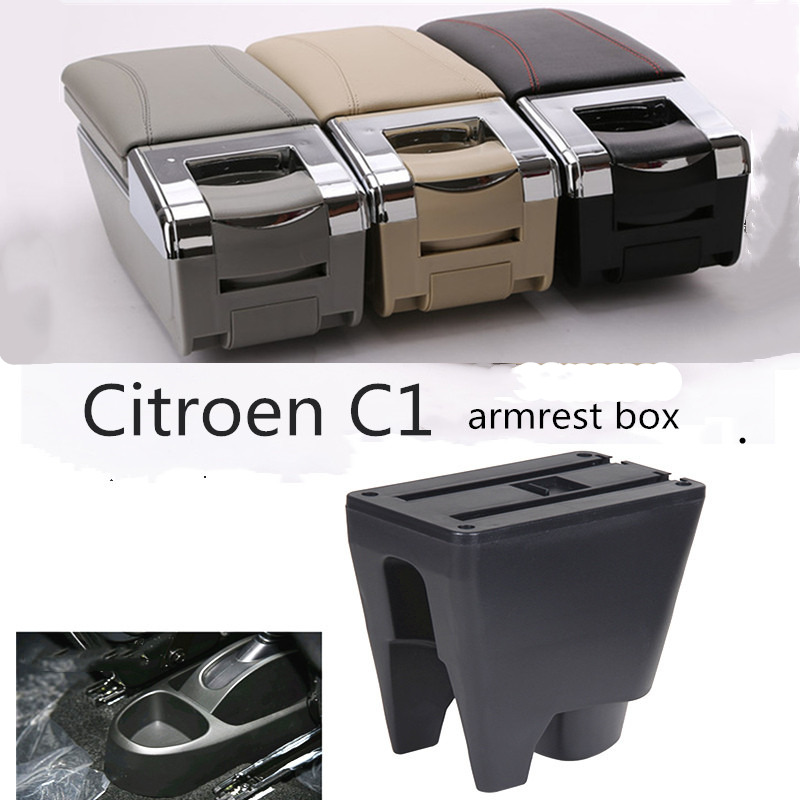 Armrest Box Central Store Interior Storage Car Accessories With Cup Holder For Citroen C1 Peugeot 107 Toyota Aygo BJ BYD F0|Armrests| |  - title=