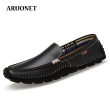 ARUONET Summer Leather Loafers For Men Leisure Shoes Tide Moccasins Comfort Slip-On Business Dress Male Homme Chaussure
