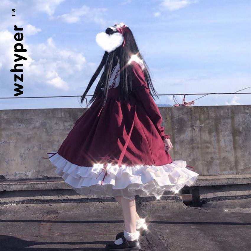 Gothic Lolita Dress Soft Sisiter Victorian Medieval Lace Red Blue Pink Dress Women Princess Dress Halloween Costume For Girls