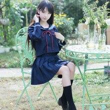 Japanese School Uniforms Bowknot JK Suits Navy Skirts Female Dresses Sailor Costumes Zipper Cardigans Dress Clothes for Women