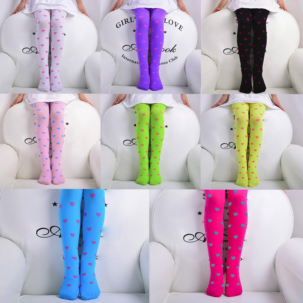 Cotton Newborn Winter Child Girls Footed Heart Dots Tights Stockings Ballet Candy Colors Opaque  Stock Tights  Clothes Stockings