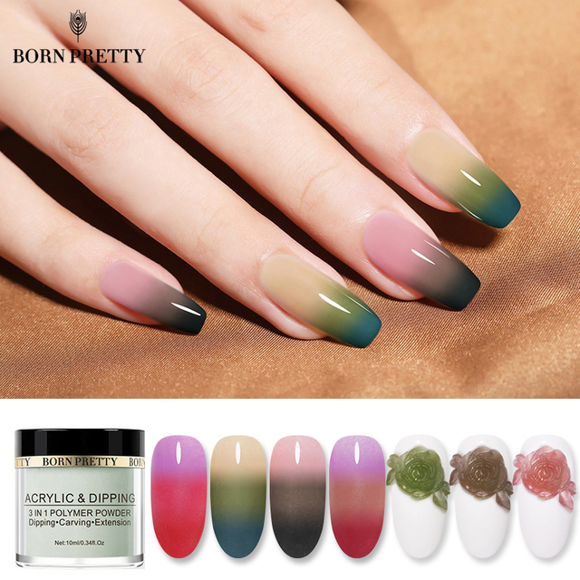BORN PRETTY 3 IN 1 Thermal Polymer Dipping Nail Powder 10ml Color Changing Acrylic Extension Carving Nails Powder Glitter