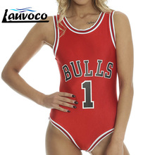 Red Black One Piece Swimwear Solid BULLS Number One  Swimsuit Women Padded High Cut Sports Bodysuit Sexy Female Summer Beachwear number one