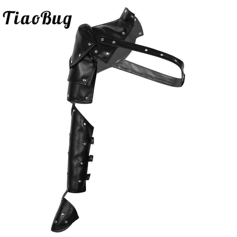 TiaoBug Adult Medieval Cosplay Costume Accessories Gothic Punk Harness PU Metal Rivets Adjustable Shoulder Armors Arm Straps Set