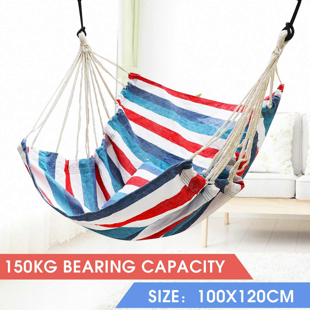 2 Pillow Hammock Hanging Rope Hammock Chair Swing Seat Large Hammock Chair Relax Hanging Swing Chair for Indoor Child Adult 1