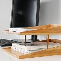 Organizador de bandeja de arquivo de 2 camadas  caixa de armazenamento empilhável  bandeja de carta de arquivo  proteção ambiental de bambu  rack de dupla camada de desktop
