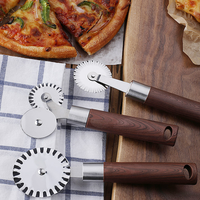 3 Patterns Stainless Steel Pizza Cutter Double Roller Pizza Knife Stone Pastry Pasta Dough Crimper Kitchen Tools Baking Pan