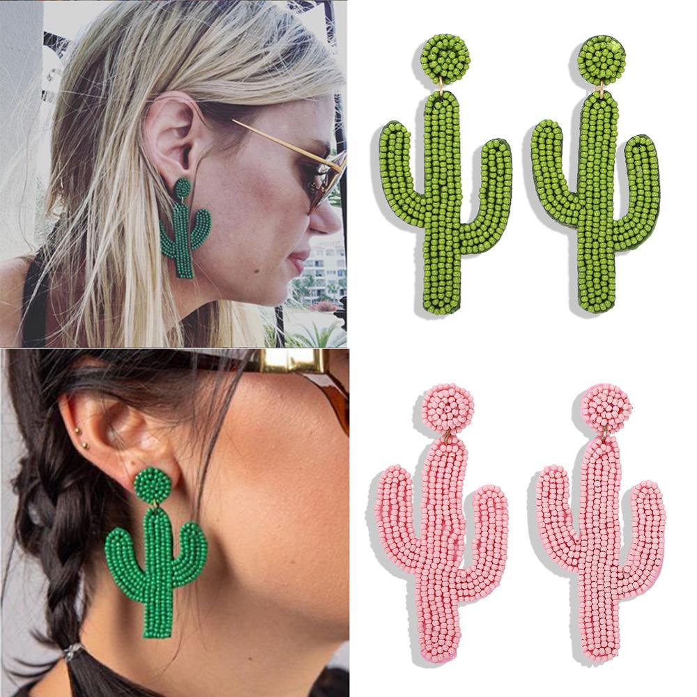 Ladyfirsy Resin Bead  Cactus Drop Earrings For Women Bohemian Fashion Girls Summer Travel  Statement Earring Jewelry Wedding