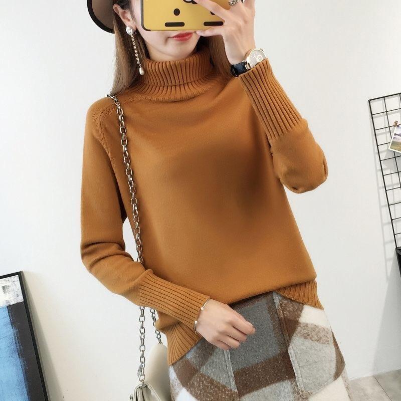 14 цветов,, осенне-зимний свитер, Женский вязаный свитер с высоким воротом, повседневный мягкий модный тонкий женский эластичный пуловер NS9097 - Цвет: tuhuang
