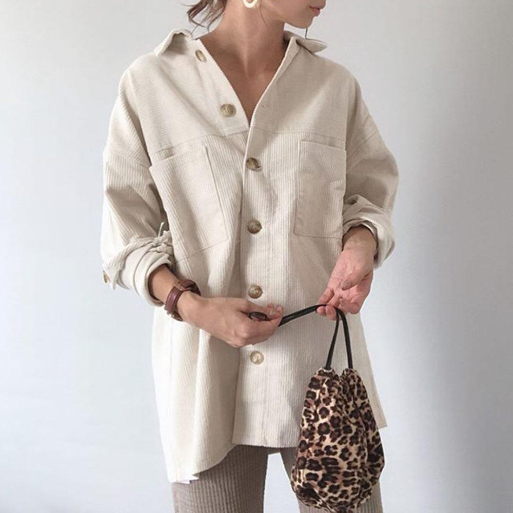 Casual   Trench   Coat Women 2019 Autumn Long Sleeve Solid Button Outwear Korean Loose Office Lady Japanese Elegant Windbreaker