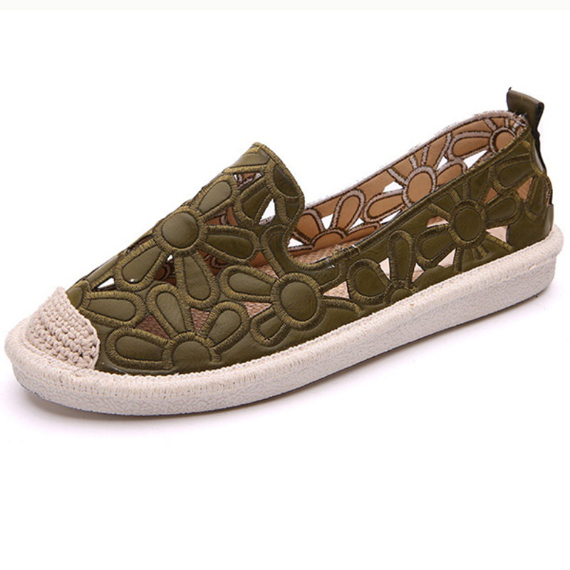 XZ025 Summer Women Flat Shoes Soft Casual Flower Loafers Lady Flats Sweet Cut Out Slip On Hemp Shoes Breathable Ladies Footwear in Women 39 s Flats from Shoes