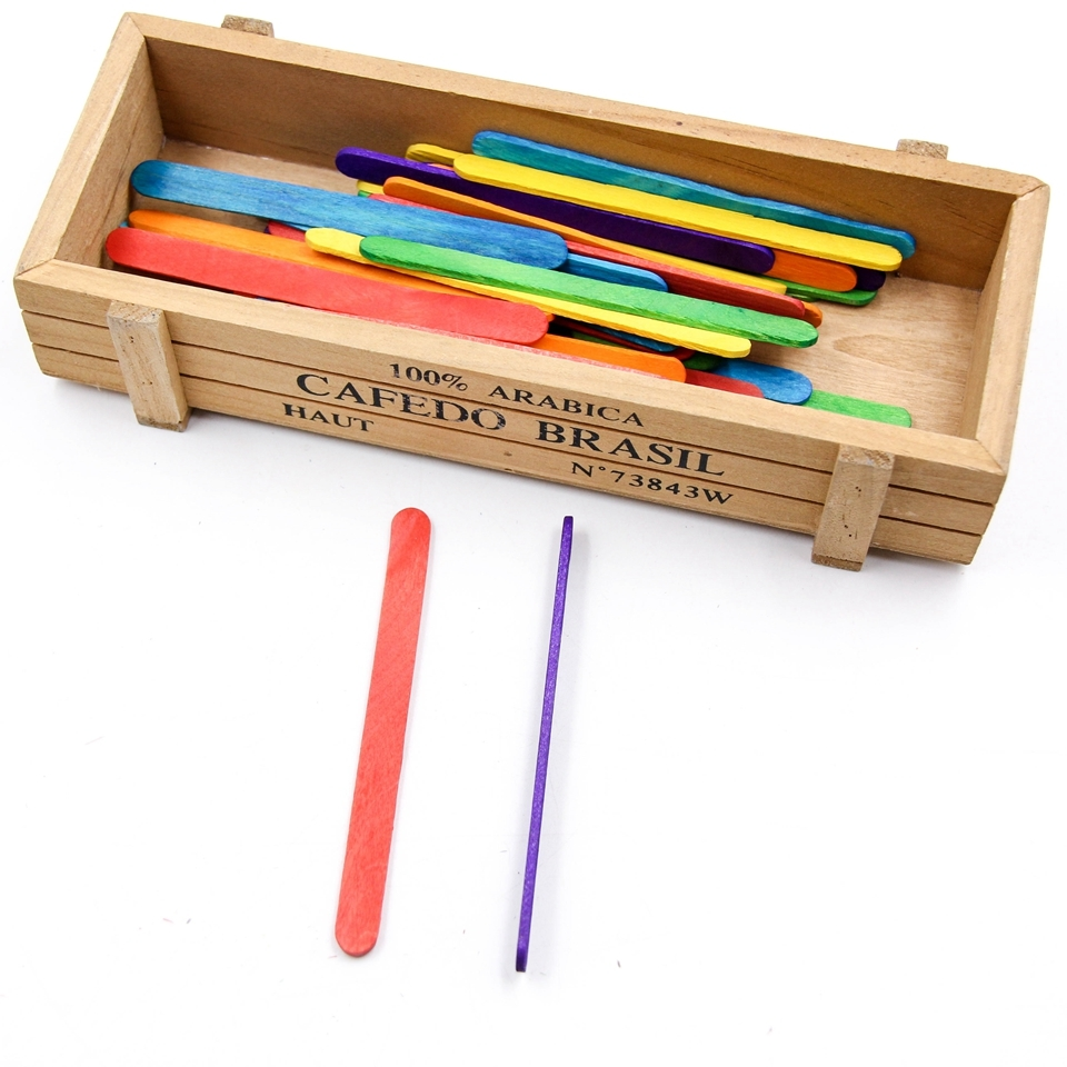 Palitos y Palillos MADERA manualidades DIY sostenible comprar sin plastico mix multicolores ejemplo caja