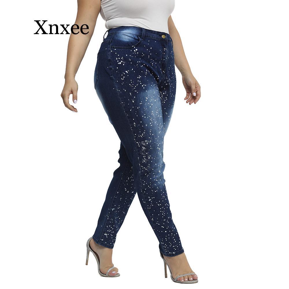 L-6XL Plus Size Jeans Women High Waist Dar Blue Denim Blue Trousers Casual Woman Washed Jeans Lady Skinny Pencil Pants