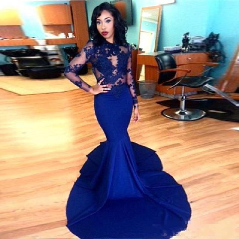 Sexy Royal Blue Lace Prom Dress Long Sleeves Mermaid Style High Neck See-Through Lace Appliques African Party Evening Gowns