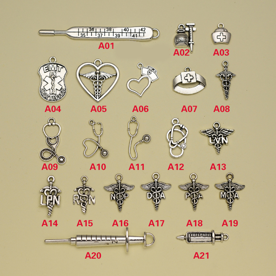 Antique Silver Plated Nurse Doctor Charms Collection Medical Caduceus Nurse Cap Stethoscope Syringe Pendants Jewelry making.