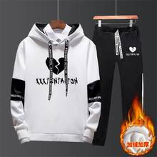 XXXT Tracksuits Outwear Hoodies Sportwear Sets Male Sweatshirts Cardigan Men Set Clothing+Sweatpants Pants 3XL(China)