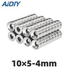 цена на AI DIY 20/50/100 pcs 10x5mm Hole 4mm N35 Super strong round countersunk Rare Earth magnets  permanent neodymium magnet 10*5-4mm