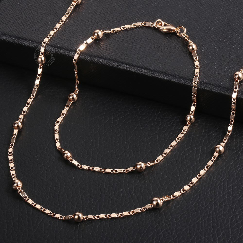 Fashion Jewelry Set for Women 585 Rose Gold Braided Foxtail Bead Link Chain Necklace Bracelet Set Wedding Jewelry Gift CS16A 4