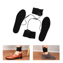 1Pair Useful USB Electric Powered Heated Insoles Winter Outdoor Ski Cycling Essential Plush Fur Heated Foot Warmer Shoes Insoles