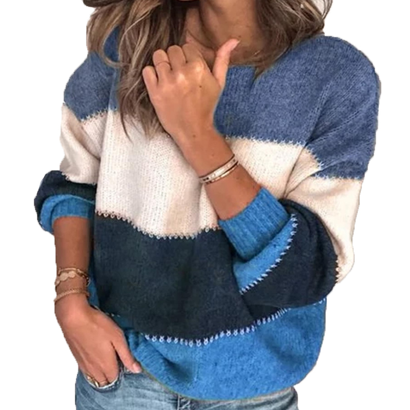 VITIANA Loose Casual Knit Sweater Women Autumn 2019 Female Long Sleeve Striped Knitted Sweaters Femme Winter Cloth Plus Size 5XL