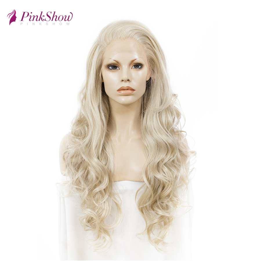 Pinkshow Platinum Blonde Lace Front Wigs Long Wavy Synthetic Lace Front Wig Glueless Heat Resistant Fiber Wigs For Women Daily