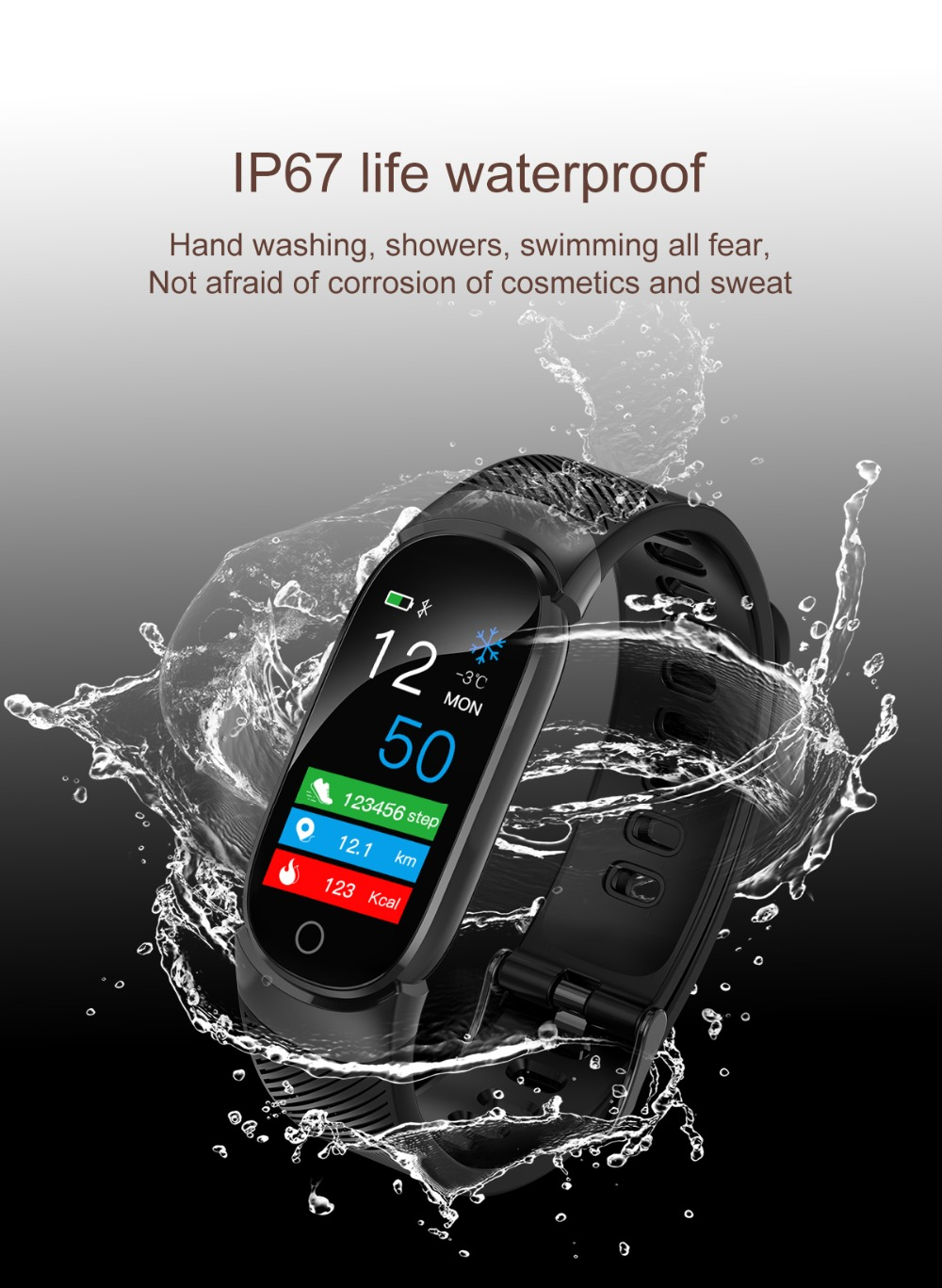 QW16 Smart Band Heart Rate Tracker Fitness Tracker Smartband Smart Bracelet Waterproof Smart Wristband Smart Watch pk mi band 3 (11)