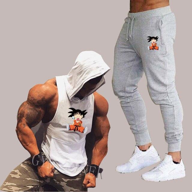 夏新ドラゴンボール男性のフード付きベストカジュアルスーツ男性の服の男はトップス + パンツ男性トレーナーブランドフード付きベストセット