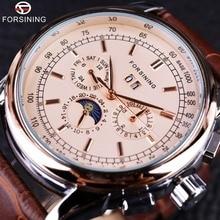 Forsining ムーンフェイズ上海運動ローズゴールドケースブラウン本革ストラップメンズ腕時計トップブランドの高級 Auotmatic 時計
