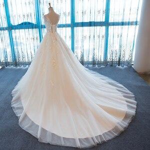 Image 3 - SL 55 الخامس الرقبة شاطئ فساتين الزفاف حجم كبير بوهو رخيصة فستان الزفاف الدانتيل